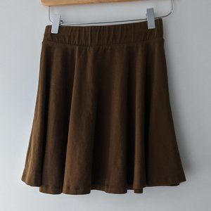 Pull & Bear Circle Skater Skirt Olive Green Small
